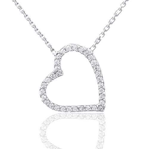 Heart Shaped Diamond Pendant Necklace - 1/10 Carat Natural Diamond Pendant Necklace 10K White Gold (HI Color, I3 Clarity) Heart Shaped Diamond Pendant Necklace for Women Diamond Jewelry Gifts for Women