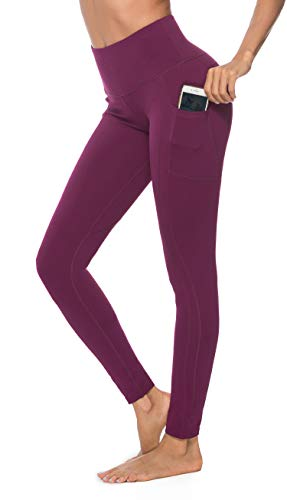 OVESPORT Women's Workout Leggings with Pockets High Waist Active Yoga Pants for Running Sports Fitness Gym (2208CK-Dark Berry,XL)