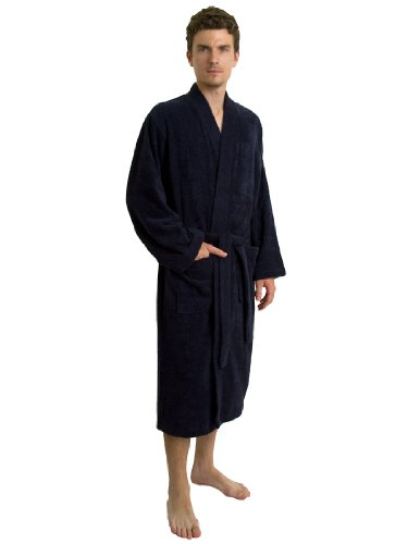 TowelSelections Turkish Terry Kimono Bathrobe - 100% Turkish Cotton, Terry Cloth Bath Robe for Women and Men, Made in Turkey (Navy, L/XL)