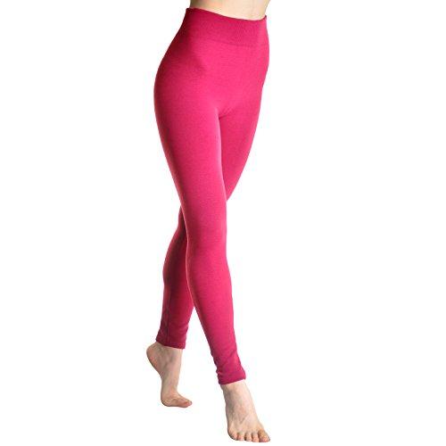 Angelina Fleece Lined Leggings, #004, Fuchsia, One Size