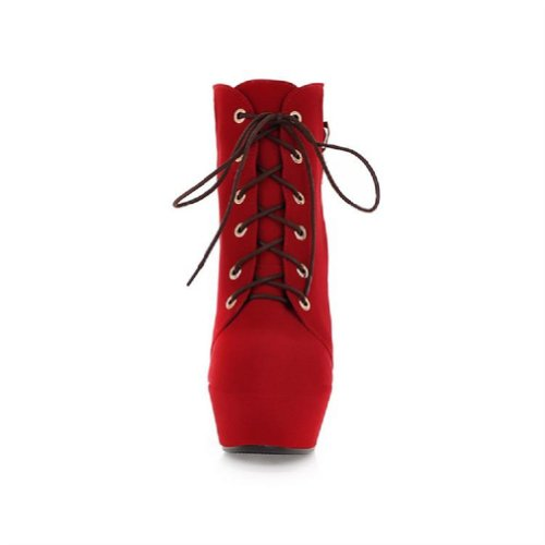 Charm Foot Fashion Mujeres Platform Botines De Tacón Alto Botas Occidentales De Color Rojo