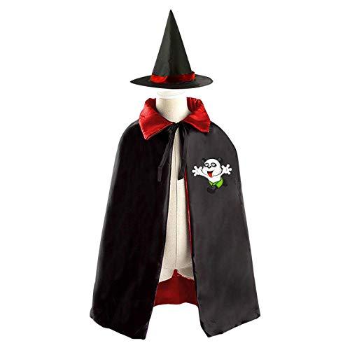 69PF-1 Halloween Cape Matching Witch Hat Naughty Panda Wizard Cloak Masquerade Cosplay Custume Robe Kids/Boy/Girl Gift Red