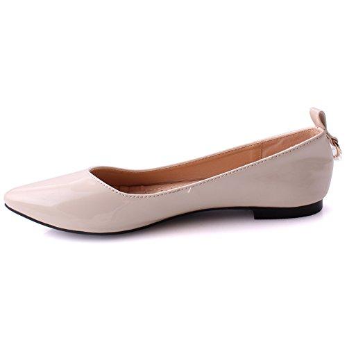 Beige Ball Diamond Surface Patent Toe Flat Size 3 Hana Metallic Detailing Pump Formal UK Casual Evening on Shoes Semi Unze Women Pointy Slip 8 wXgZAqqv