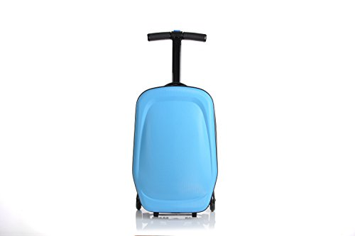 20 Inch Unisex Multi-Functional Scooter Travel Upright Suitcase Luggage with 3 Hot Wheels for Girls Boys and students Foldable Trolley Convertible Travel School Bag (Sky Blue) by Little Jasmine