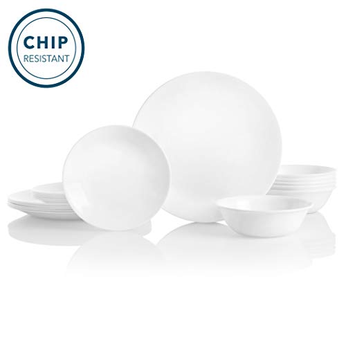 Corelle Service for 6, Chip Resistant, Winter Frost White Dinnerware Set, 18-Piece (Dinnerware White)