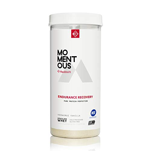 RedShift Grass-Fed Whey Protein Isolate, 14 Servings Per Jar for Endurance Recovery Post-Workout Protien Powder, Gluten-Free, NSF Certified - Momentous (Vanilla)