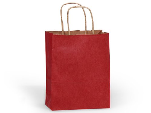 100% Recycled Kraft Tint Bags - Cub Christmas Red 100% Recycled Bulk Shopping Bags 8x4-3/4x10-1/4'' (250 bags)- WRAPS-BCTCR by Miller Supply Inc