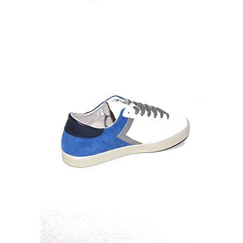 D.A.T.E. Sneaker Hill Low Half in Pelle Bianca e Camoscio Grigio Bianco/Blu