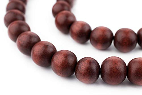 TheBeadChest 12mm Natural Round Wood Beads, Wooden Beads Loose Wood Spacer Beads for DIY Jewelry Making, 4 Sizes (8mm, 10mm, 12mm, 20mm) - Red - Cherry