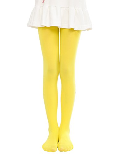 22227e388 Anlaey Dance Footed Tights Microfiber Pro Ballet Solid Colored Stockings  tight for Girls Kids Yellow Large
