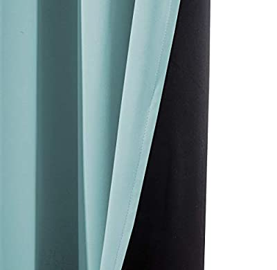 Yakamok Gradient Color Ombre Blackout Curtains Thickening Polyester Thermal Insulated Grommet Window Drapes for Living Room/Bedroom
