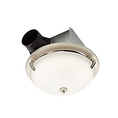 NuTone InVent Decorative Satin Nickel 100 CFM Ceiling Exhaust Fan with Light and White Globe, ENERGY STAR