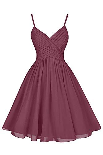 (Mulberry Bridesmaid Dresses Short Knee Length A-Line V-Neck Chiffon Party Dress with Pockets)