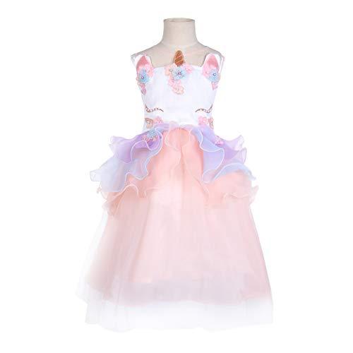 Girls Unicorn Costume Party Dress Tutu Kids Cute Flower Princess Pageant (5T) Pink