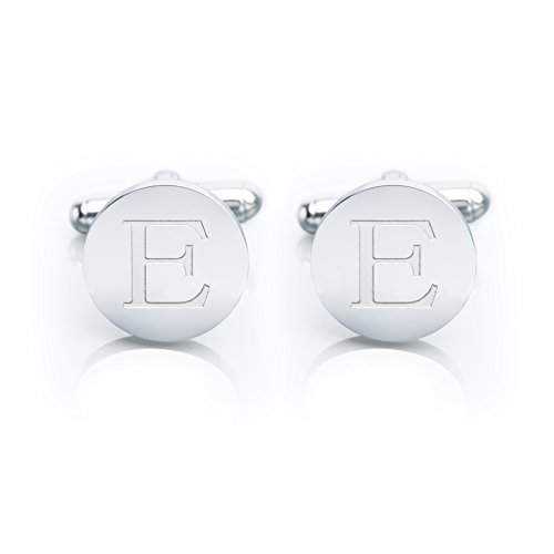 Men's 18K White Gold-Plated Engraved Initial Cufflinks with Gift Box- Premium Quality Personalized Alphabet Letter (E - White Gold) (Platinum Cufflinks compare prices)