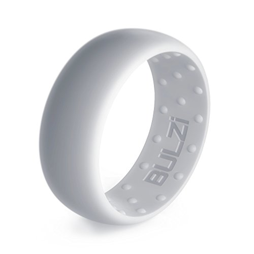 BULZi – Massaging Comfort Fit Silicone Wedding Ring – #1 Most Comfortable Men's Wedding Band – Round Edges with Flexible Work Safety Domed Design (Silver, 11 – 20.6mm)