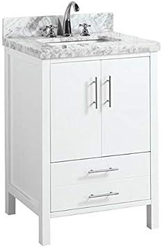 California 24 Inch Bathroom Vanity Carrara White Includes White