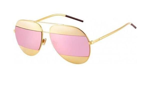 5503bccd018b Amazon.com  New Christian Dior SPLIT 1 000 0J rose gold rose gold mirror  avitor sunglasses  Clothing