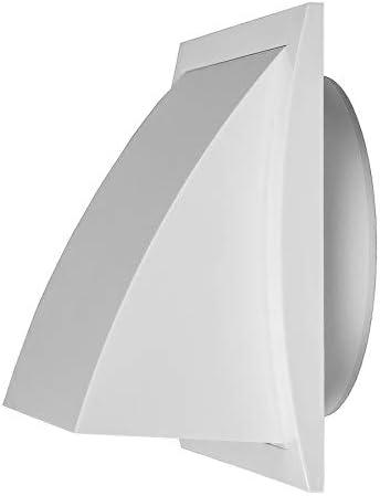 /Ø 125mm Wei/ß L/üftungsgitter Abluft Zuluft Abzugsverkleidung R/ückstauklappe ABS Aussenhaube