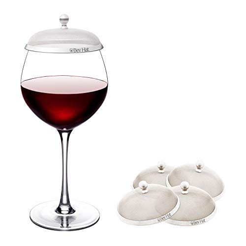 Glass Topper - BevHat Wine Glass Cover. Family Pack (Two 2-Packs / 4 BevHats Total). Keep The Bugs Out!