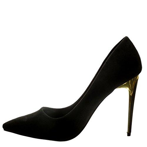 Angkorly - Chaussure Mode Escarpin stiletto sexy femme doré Talon haut aiguille 10.5 CM - Noir