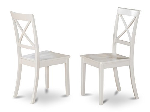 (East West Furniture BOC-WHI-W X-Back Chair Set for Dining Room with Wood Seat, Set of 2)