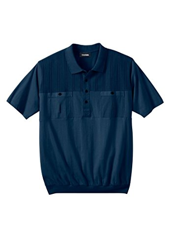Mens Tall Bottoms (KingSize Men's Big & Tall Banded Bottom Double Pocket Textured Polo Shirt, Navy)