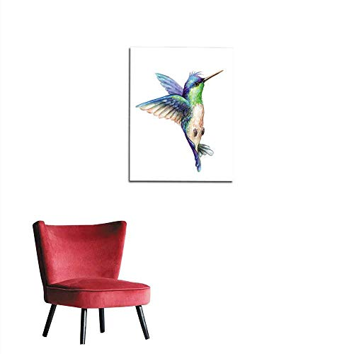 longbuyer Wallpaper Watercolor Illustration Flying Hummingbird Isolated on White Background Exotic Tropical Wild Life Clip Art Mural 32