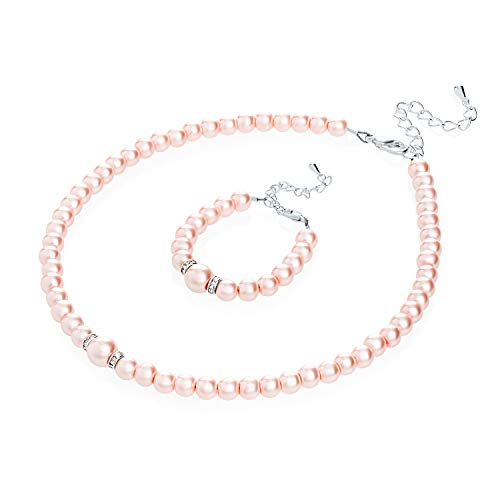 - Crystal Dream Elegant Pink Simulated Pearl Toddler Girl Necklace and Bracelet Stylish Gift Set (GS-P-P-L)