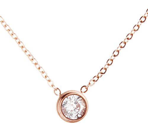 [Happiness Boutique Women Pendant Necklace in Rose Gold | Delicate Necklace with Rhinestone Charm] (Unique Costume Ideas For Teenage Girls)