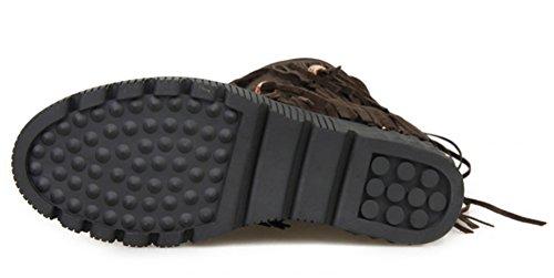 IDIFU Womens Fashion Beaded Tassels Flat Mid Calf Booties With Heels Inside Brown NTXh1
