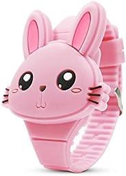 Kids Watch,Girls Digital Watch-Cute Rabbit Shape Pink Girl Watch LED Fashion Silicone Animal Shape Clamshell D