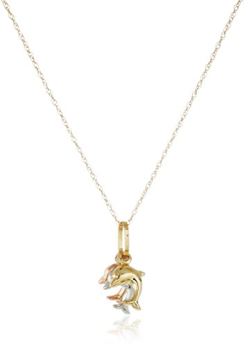 14k Gold Tri-Color Triple Dolphin Pendant Necklace, 18