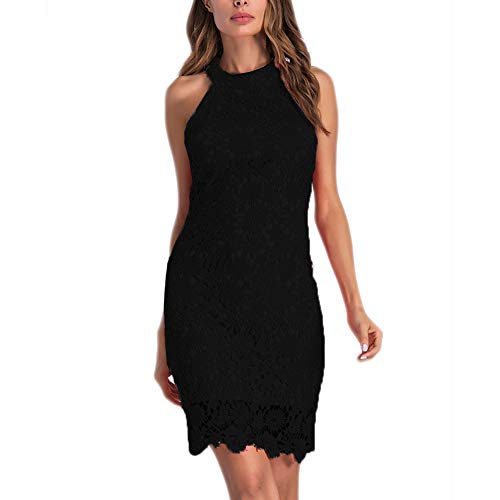 Womens Halter Lace Dresses for Special Occasions, Black, X-Large