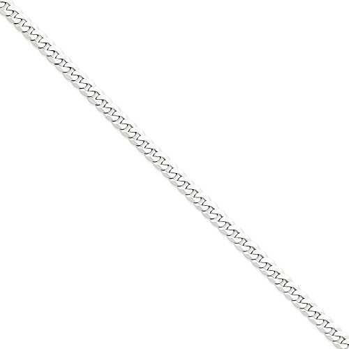 14k White Gold 6.5mm Flat Curb Chain Bracelet by Jewelplus