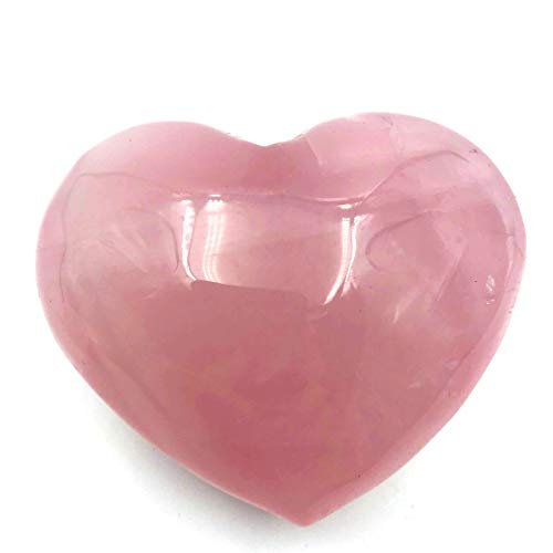 favoramulet Natural Rose Quartz Puff Heart, Carved Polished Palm Worry Pocket Love Stone Healing Crystal 1.5