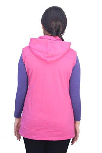 Romano - Sweat-shirt - Veste - Uni - Col Chemise Classique - Sans Manche - Femme Rose Rose