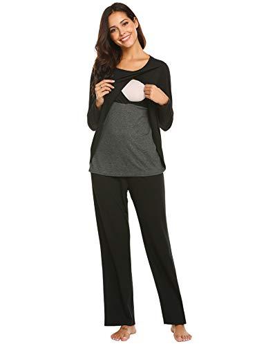 89acbf6f730 Ekouaer 2 pcs Nursing Pajamas Women s O-Neck Patchwork Maternity Sleepwear  Nightgown (Black