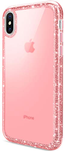 DAUPIN Compatible for iPhone Xs Max Phone Case Colorful Luxury Sparkle Glitter Bling Cover Slim Thin Clear Cases for Women Girls for iPhone Xs Max 6.5 Inch 2018 (Rose Gold)