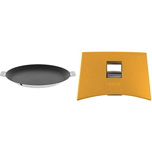Cristel CR30QE Non-Stick Crepe Pan, Silver, 12'' with Cristel Mutine Plmaj Side Handle, Yellow by