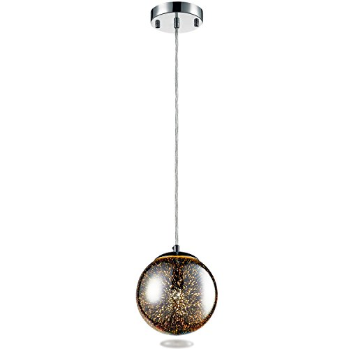 """ting Fixture - 7.1"""" Circular Sphere Shaped Dome Pendant Hanging Lamp Ceiling Light with Sculpted Glass Accent, Adjustable Length and Screw-in Bulb Socket (SLLMP16) (Glass Hanging Ceiling Pendant)"""
