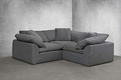 Sunset Trading SU-1458-94-3C Cloud Puff 3 Piece Modular Performance Gray Sectional Slipcovered Sofa, Grey