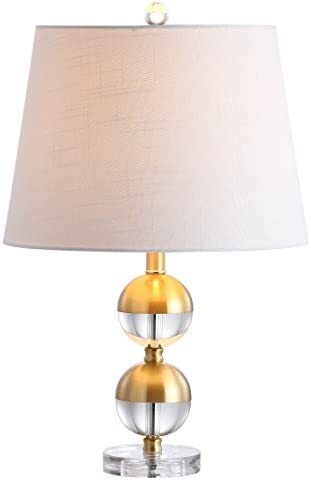 """JONATHAN Y JYL5019A Jules 23"""" Crystal Mini LED Table Lamp, Brass Modern, Contemporary, Transitional for Bedroom, Living Room, Office, Brass Gold/Clear"""