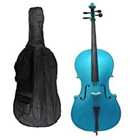 Grace 4/4 Size BLUE Cello for Beginners, Students with Bag and Bow, Free Rosin and Extra Set of Merano Brand Strings for Replacement 12