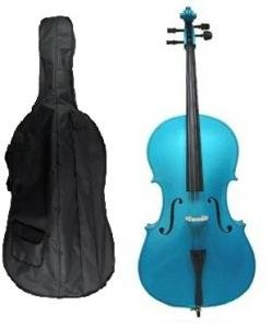 Grace 4/4 Size BLUE Cello for Beginners, Students with Bag and Bow, Free Rosin and Extra Set of Merano Brand Strings for Replacement by Merano