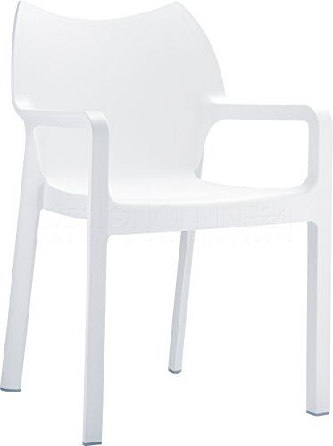Diva Resin Outdoor Dining Arm Chair in White - Set of 4 ()