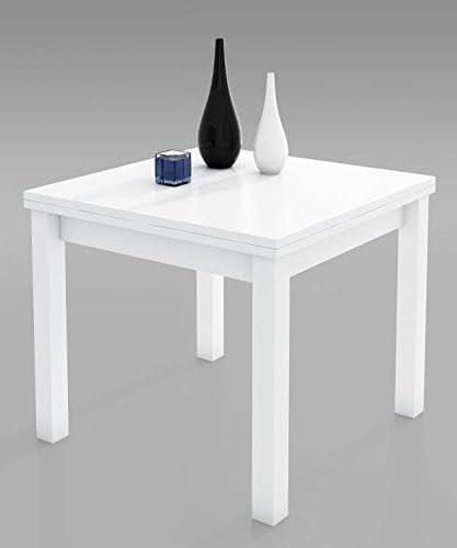 MUEBLES MATO - Mesa comedor blanco 90x90 extensible: Amazon.es: Hogar