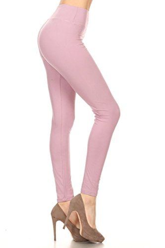 Leggings Mania Women's Solid Colored Leggings with Wide Yoga Waistband Lavender]()