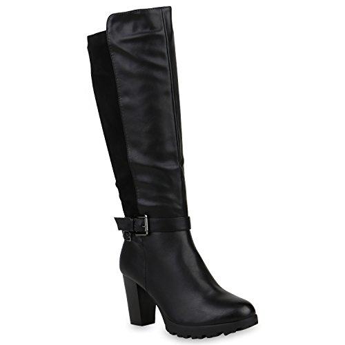 Stiefelparadies Damen Stiefel Leder-Optik Plateau Stiefel Schnallen Gefütterte Boots Blockabsatz Plateauschuhe Flandell Schwarz Carlet