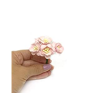 "1"" Light Pink Cherry Blossoms, Mulberry Paper Flowers with Wire Stems, Mauve Paper Flowers, Miniature Flowers, DIY Wedding, Wedding Decor, Artificial Flowers, 25 Pieces 3"